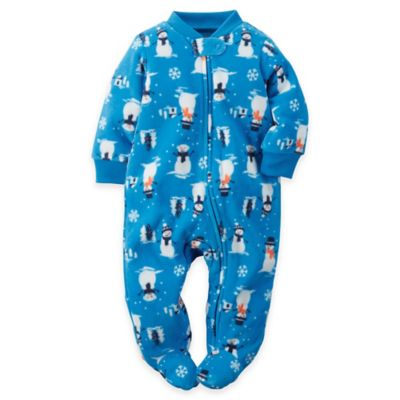 carter's® Size 3M Snowman Zip-Front Fleece Footie in Blue/White