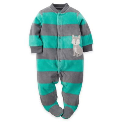 carter's® Size 3M Husky Striped Zip-Front Fleece Footie in Teal/Grey