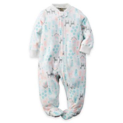 carter's Newborn Zip-Front Deer Fleece Footie in White/Pink