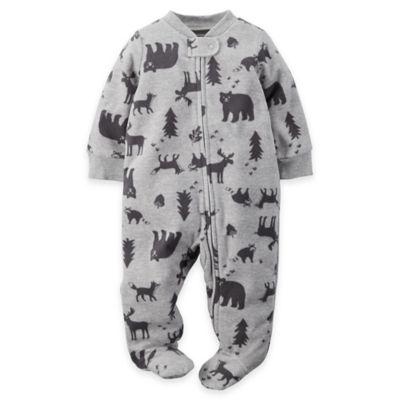 carter's Size 3M Zip-Front Woodlands Fleece Footie in Grey/Black