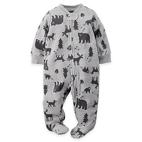 Carter S Zip Front Woodlands Fleece Footie In Grey Black
