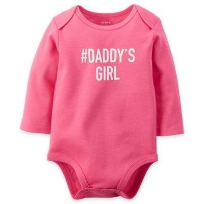 "carter's® Size 3M ""#Daddy's Girl"" Long Sleeve Bodysuit in Pink/White"