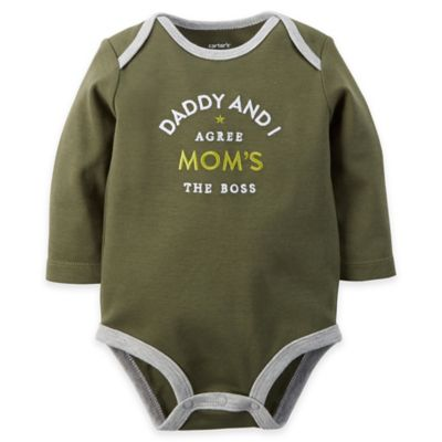 "carter's Newborn ""Daddy and I Agree Mom's the Boss"" Long Sleeve Bodysuit in Olive/Grey"