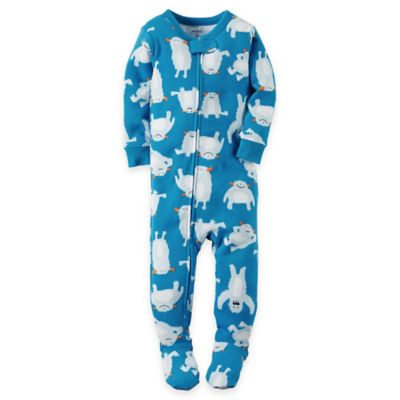 carter's® Size 12M Abominable Snowman Footed Pajama in Blue