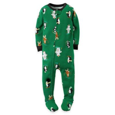 carter's® Size 18M Skiing Animals Footed Pajama in Green