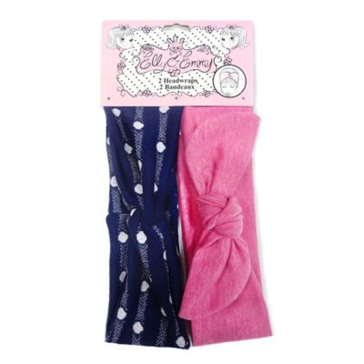 Elly & Emmy® 2-Pack Front Twist Knot Headwrap in Navy/Pink