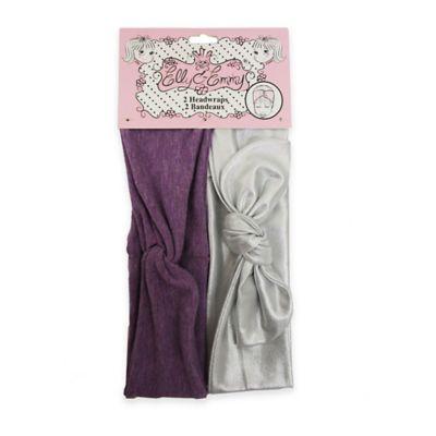 Elly & Emmy® 2-Pack Front Twist Knot Headwrap in Silver/Purple