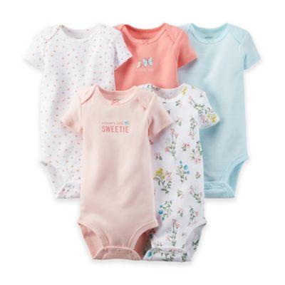 "carter's® Preemie 5-Pack ""Little Sweetie"" Bodysuits in Pink"