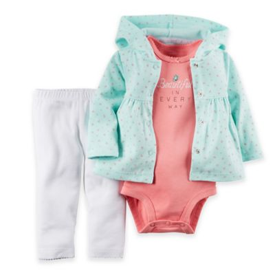 "carter's® Preemie 3-Piece ""Beautiful"" Bodysuit, Hooded Cardigan and Pant Set in Turquoise/Pink"