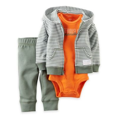 """carter's® Preemie 3-Piece """"Seriously Adorable"""" Bodysuit, Jacket and Pant Set in Grey/Orange"""