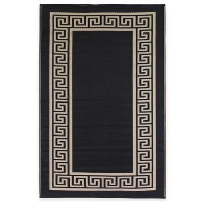 Fab Habitat Athens 6-Foot x 9-Foot Indoor/Outdoor Area Rug in Midnight Blue & Cream