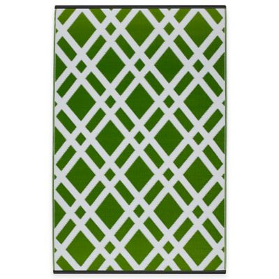 Fab Habitat Dublin 3-Foot x 5-Foot Indoor/Outdoor Area Rug in Lime Green/White