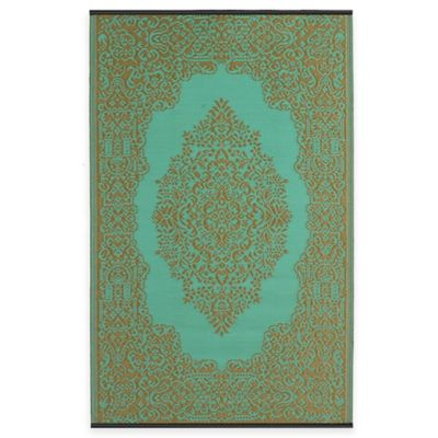 Fab Habitat Istanbul 5-Foot x 8-Foot Indoor/Outdoor Area Rug in Fair Aqua/Warm Taupe