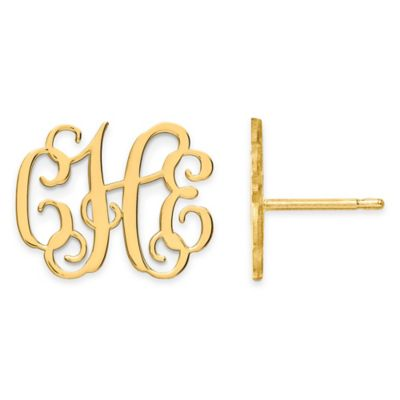 Gold-Plated Sterling Silver Large Script Post Earrings