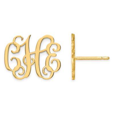 14K White Gold Large Script Post Earrings