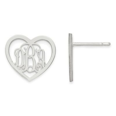 Gold-Plated Sterling Silver Small Heart Script Post Earrings