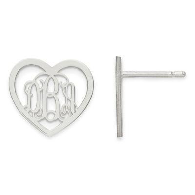 Sterling Silver Small Heart Script Post Earrings