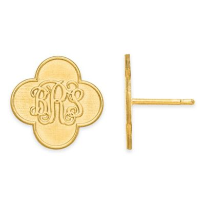 14K Yellow Gold Script Initial Clover Post Earrings