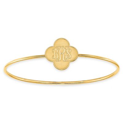 Yellow Gold-Plated Sterling Silver Script Initial Clover Slip-On Bangle