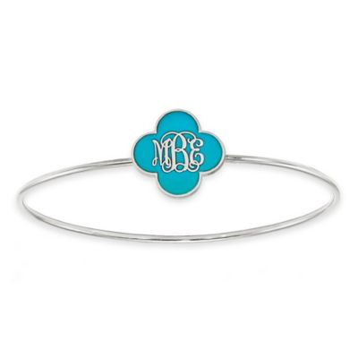 Yellow Gold-Plated Sterling Silver Green Enamel Script Initial Clover Slip-On Bangle