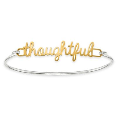 Gold-Plated Sterling Silver Script Name Plate/Word Bangle