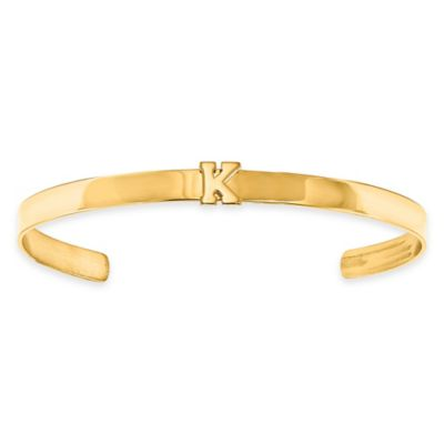Gold-Plated Sterling Silver Laser Cut Initial Cuff Bangle
