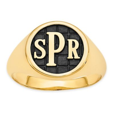 Yellow Gold Plated Size 5 Ladies' Block Initial Tile Signet Ring