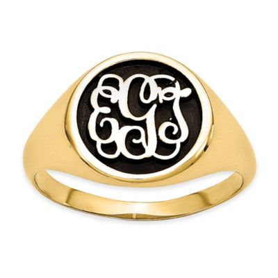 Gold-Plated Sterling Silver Size 8 Ladies' Script Letters Ring