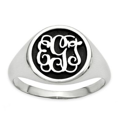 Sterling Silver Size 12 Ladies' Script Letters Ring