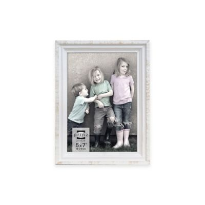 Prinz Sweet Water Groove 5-Inch x 7-Inch Wood Frame in Distressed White