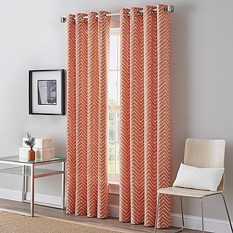 Herringbone Grommet Top Window Curtain Panel Www