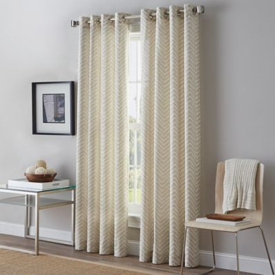 Herringbone 95-Inch Grommet Top Window Curtain Panel in Linen