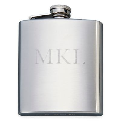 8 oz. Brushed Stainless Steel Flask in Silver