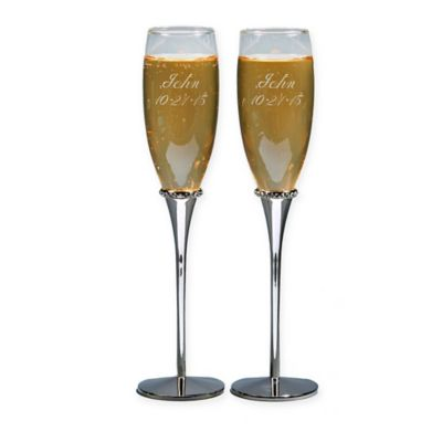Crystal-Accented Toasting Flutes (Set of 2)