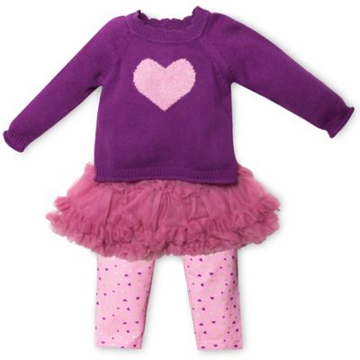 Wendy Bellissimo™ Size 6M 3-Piece Sweater Knit Top, Tutu, and Legging Set in Pink/Purple