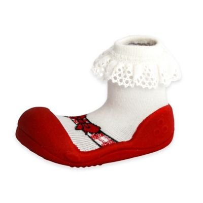Attipas® Size 4.5 Ballet Style Infant and Toddler Shoe in Red