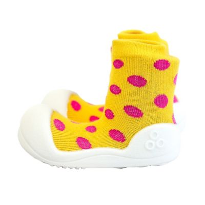 Attipas® Size 3.5 Polka Dot Infant and Toddler Shoe in Yellow
