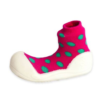 Attipas® Size 4.5 Polka Dot Infant and Toddler Shoe in Pink