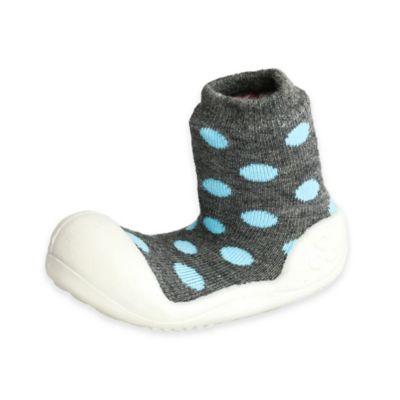 Attipas® Size 3.5 Polka Dot Infant and Toddler Shoe in Grey