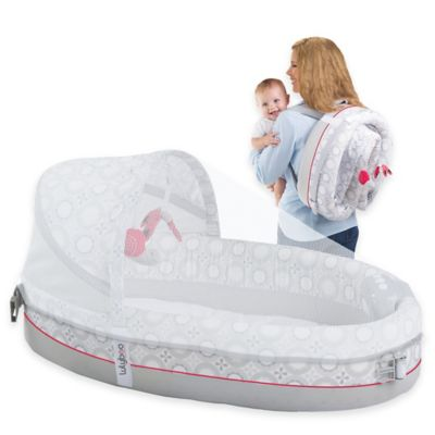 Lulyboo® Baby Lounge Lights & Music Travel Bed in Grey/Red
