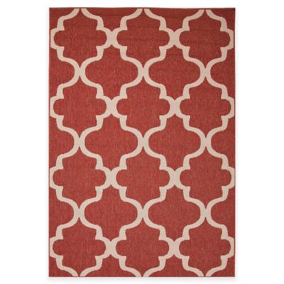 Jaipur Breeze Stamp 7-Foot 11-Inch x 10-Foot Indoor/Outdoor Rug in Red/Ivory