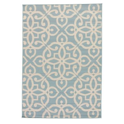 Jaipur Scrolled 2-Foot x 3-Foot 7-Inch Indoor/Outdoor Accent Rug in Blue/Taupe