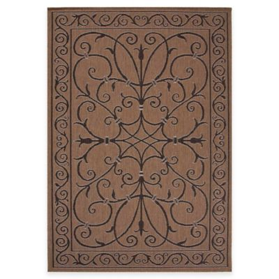 Jaipur Scroll Ironwork 5-Foot 3-Inch x 7-Foot 6-Inch Indoor/Outdoor Area Rug in Taupe/Black