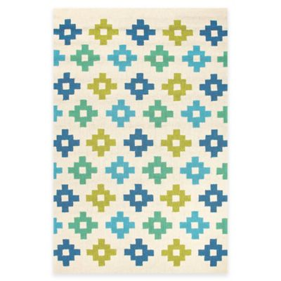 Jaipur Tile Work 7-Foot 6-Inch x 9-Foot 6-Inch Indoor/Outdoor Rug in Blue/Green