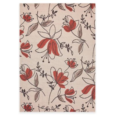 Jaipur Bloom Spring 2-Foot x 3-Foot 7-Inch Indoor/Outdoor Accent Rug in Ivory/Red