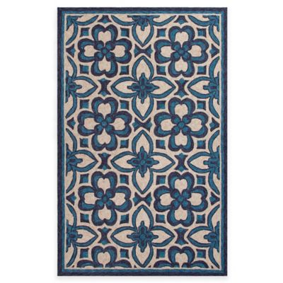 Jaipur Moroccan Floral 2-Foot x 3-Foot Indoor/Outdoor Accent Rug in Blue/Ivory