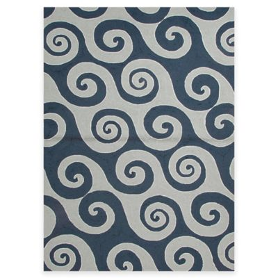 Jaipur Naturals 3-Foot 6-Inch x 5-Foot 6-Inch Indoor/Outdoor Area Rug in Blue/Ivory
