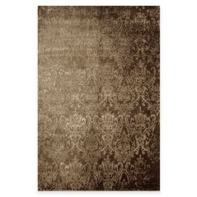 Rugs America Hudson Damask 3-Foot x 7-Foot 10-Inch Runner in Tan