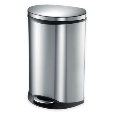 EKO Shell Stainless Steel Semi-Round 50-Liter Soft-Close Step Trash Can