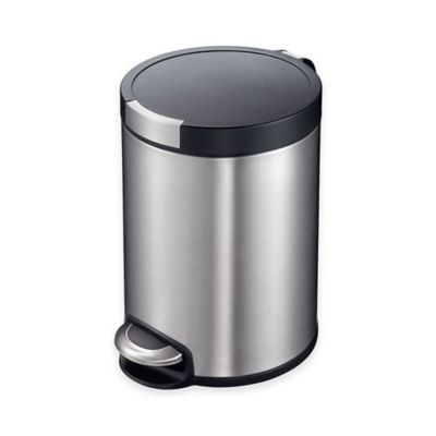 EKO Artistic Stainless Steel Round 5-Liter Soft-Close Wastebasket